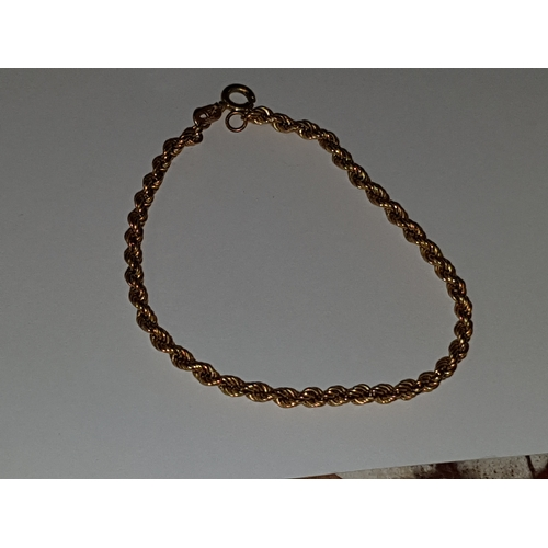 104 - 9ct Gold Rope Bracelet...