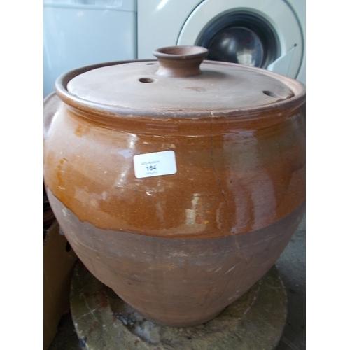 164 - Large lidded terracota pot...