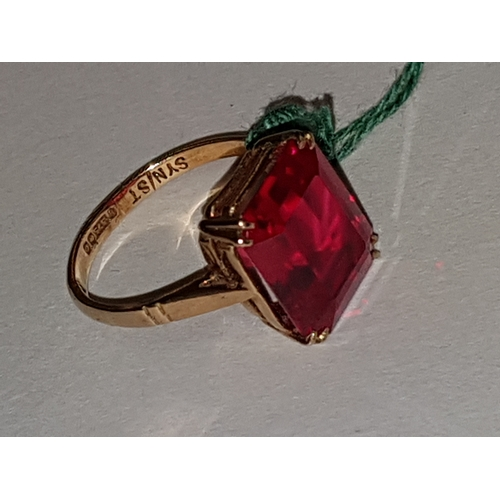 224 - 9ct large Ruby Ring...