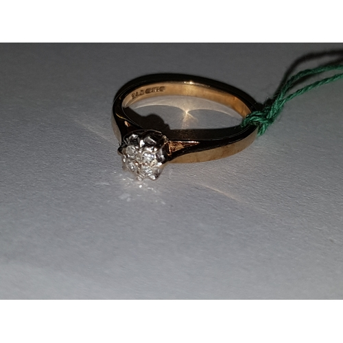 226 - 9ct 4 diamond ring...