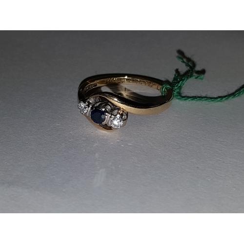 227 - 9ct sapphire diamond ring...