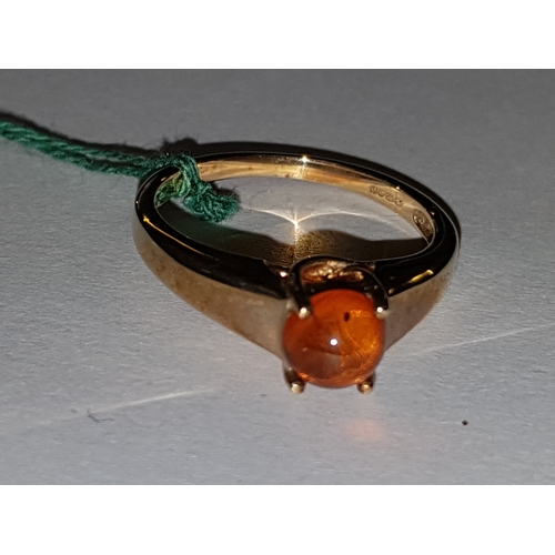 232 - 9ct Amber Cabochon Ring...