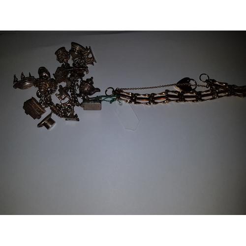 238 - Silver Charm Bracelet and yellow metal 3 Bar Gate Bracelet...