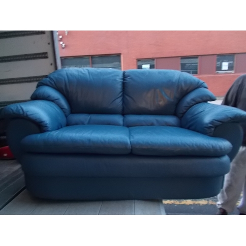 206 - 2 Blue 2 Seater Leather Settes...
