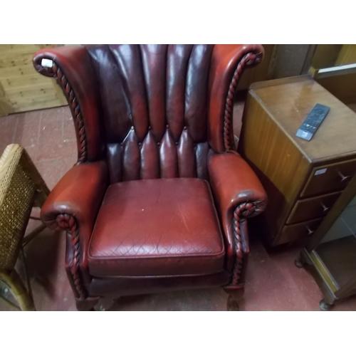 207 - Chesterfield Club Chair, Leg needs repair...