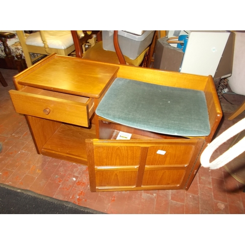 200 - Nathan Teak Hall Seat Telephone Table With Drawer and Shelf...
