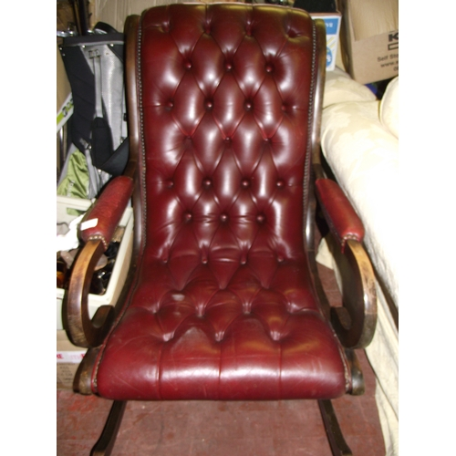 110f - Chesterfield ? Leather  Rocking Chair...