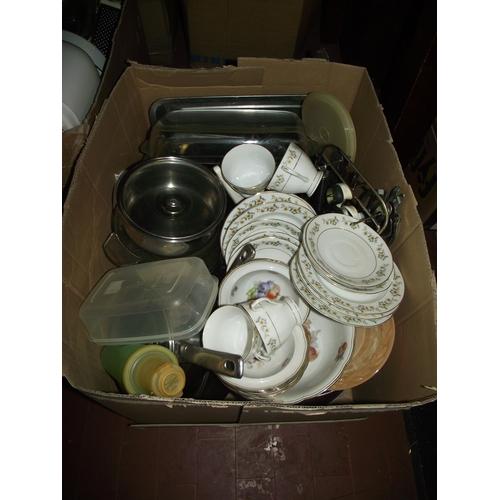 2 - large box of kitchenware and china etc...