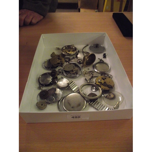 42 - Tray of Vintage Pocket watch parts etc...