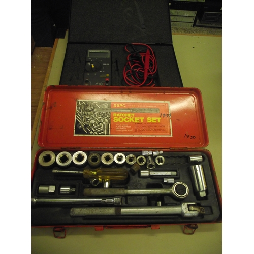 9 - Socket set and cased multi meter...