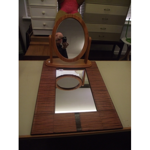 50 - Leather mirror and bathroom mirror...