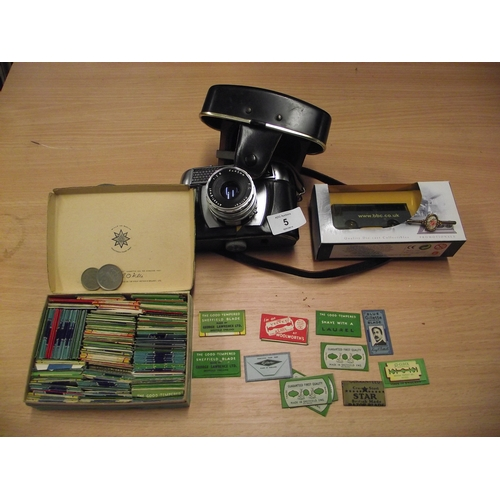 5 - Halina camera, box of vintage razor blades, Lledo die-cast collectibles bus, gold flower pin and two...