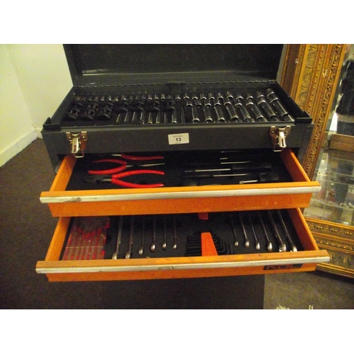 13 - RAC steel fitted toolbox and contents...