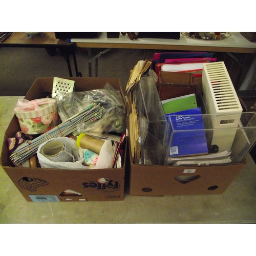 23 - 2 x Boxes Knitting And Cross Stitch Plus Loads Of Office Equipment Etc....