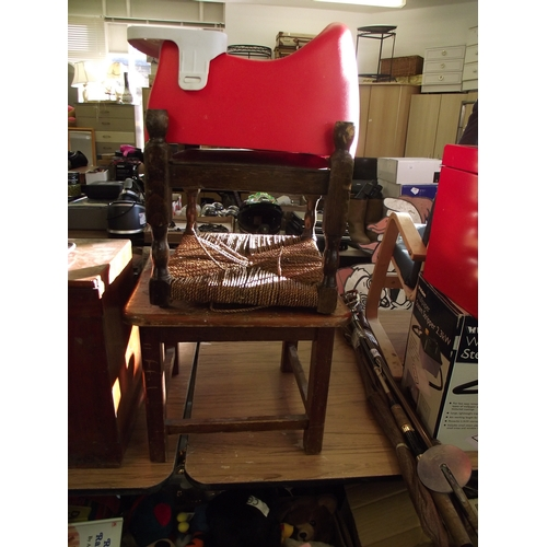 23 - Wicker stool + small table + childs seat....