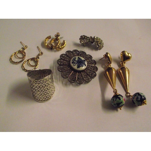 44 - White Metal and silver Brooch , Silver ring , and other Jewellrey...