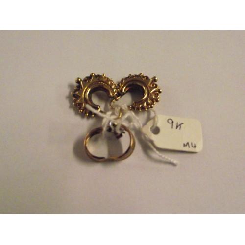 45 - 9ct gold fancy hoop earrings plus another pair...