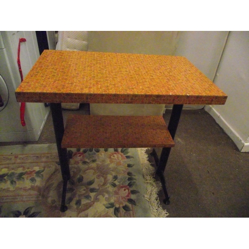 23 - 1968 Retro Formica topped shelf table...