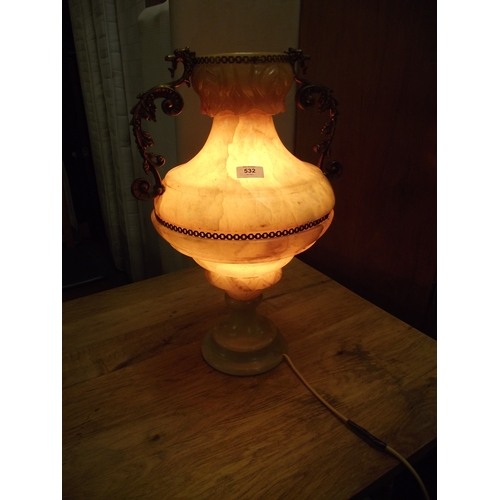 49 - Large quality onyx lamp....
