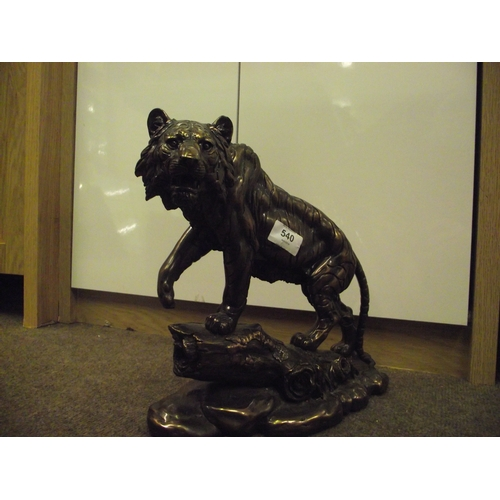 54 - Bronze effect tiger figure....