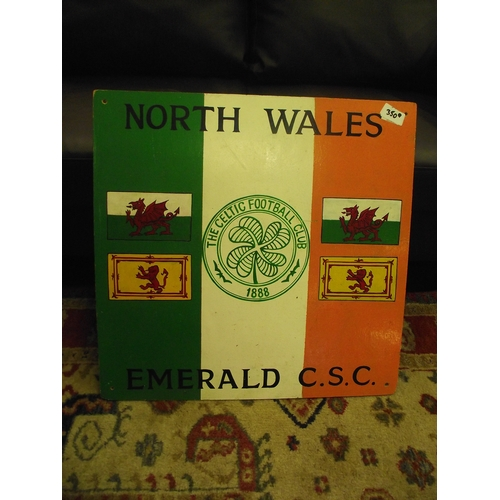 2 - Celtic Football Club Hand Painted on Board North Wales Emerald C.S.C....