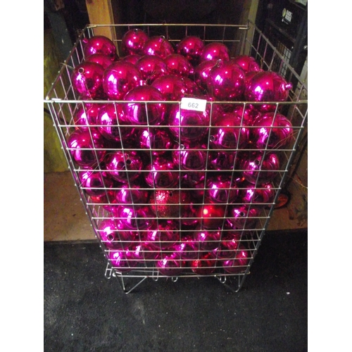 24 - Large basket of purple coloured balls, basket not included...