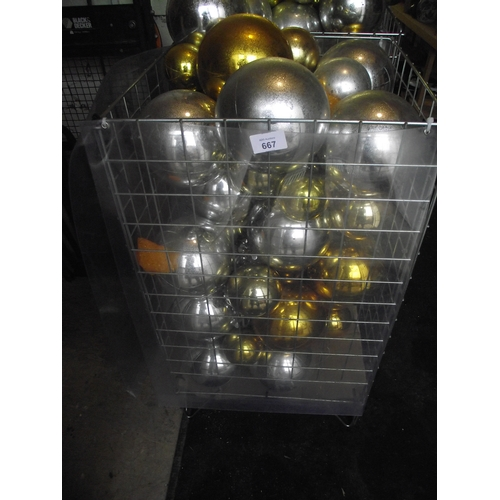 27 - Basket of silver and gold balls. Basket not included...