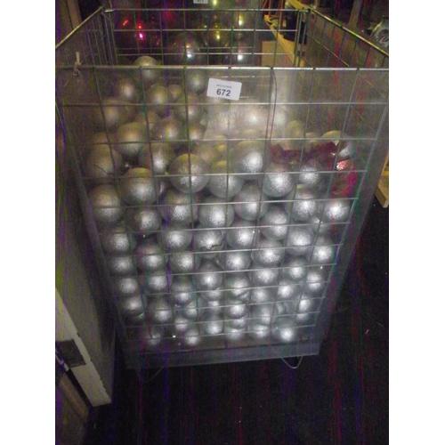 30 - Basket of silver balls. Basket not included...