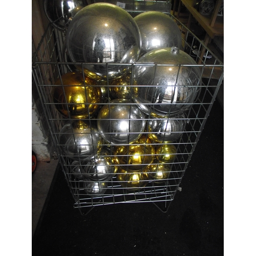 31 - Basket of silver and gold balls. Basket not included...