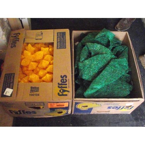 35 - Box of orange xmas stars and box of green fabrics...