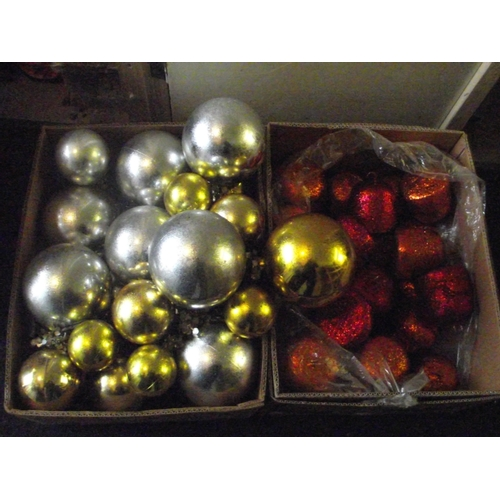 36 - 2 boxes assorted colour xmas balls...