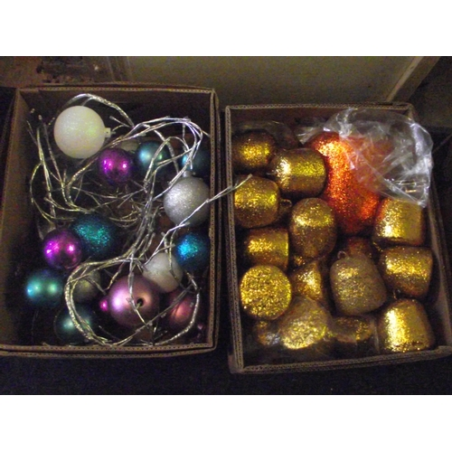 37 - 2 boxes of multi coloured xmas balls...