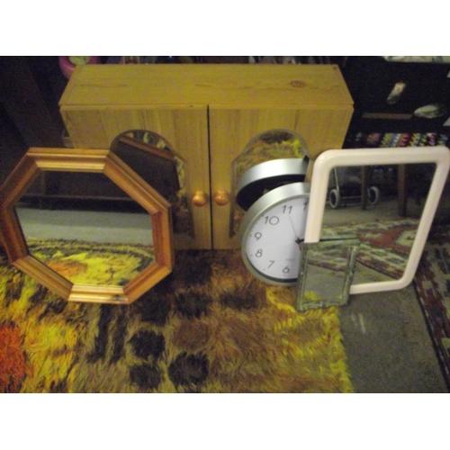 17 - Pine bathroom cabinet + 3 mirrors,clock....