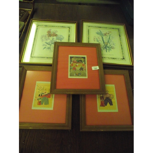 36 - 3 Copper art pictures plus 2 others...