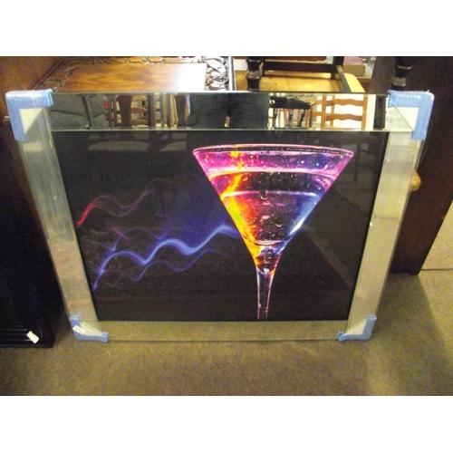 15 - Large wine glass mirrored print 80 x 60cm....