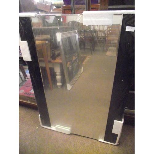 17 - Large Black stripped mirror 70 x 100cm....
