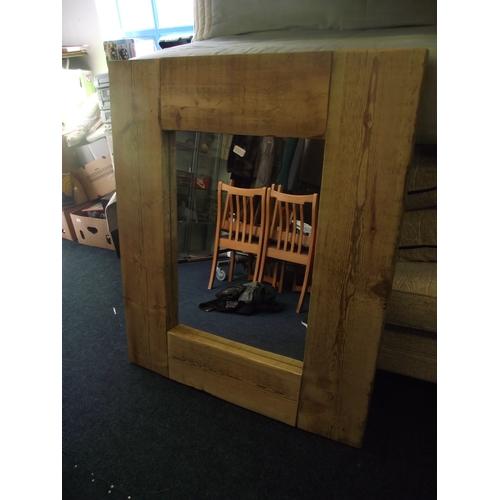 22 - Heavy wooden framed panel mirror 4ft x 3ft....
