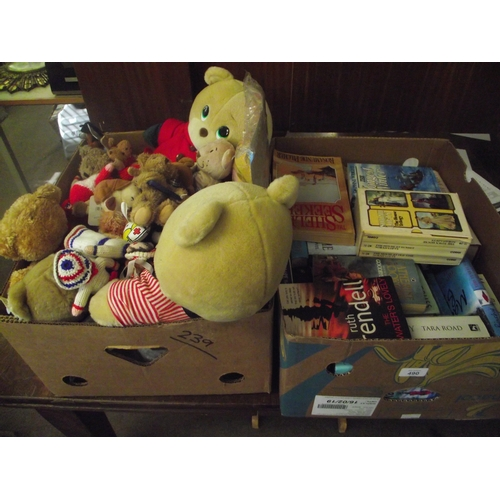 37 - Box of books and a box of cuddly toys...
