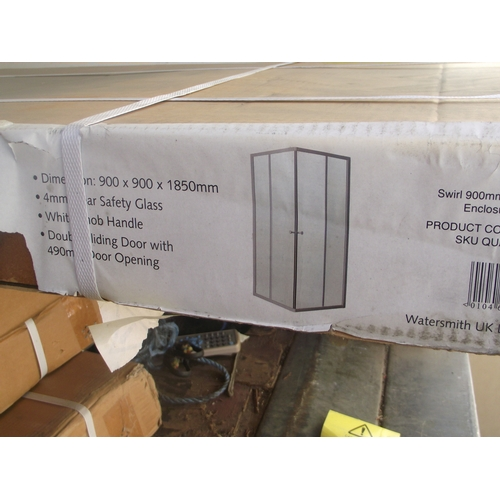 4 - Swirl 900mm Corner Entry Shower enclosure 900 x 900 x 1500 mm...