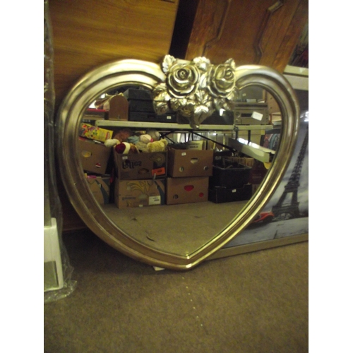 10 - Heavy rose heart mirror wood 32 inches....