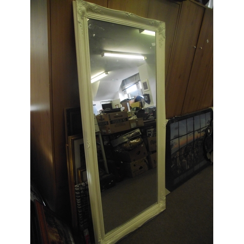 14 - 5ft x 2ft white ornate mirror....