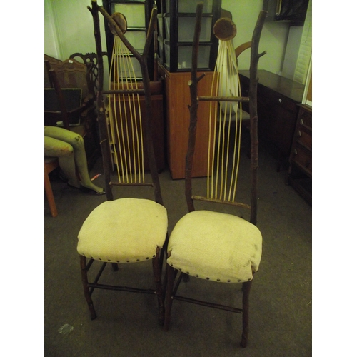 26 - 2 Bespoke Hand made wooden chairs...