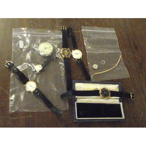 34 - 4 gents vintage wrist watches a ladies wrist watch and a pocket watch...
