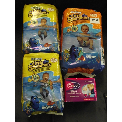 34 - 3 Huggies packs of little swimmers and calpol satchets...