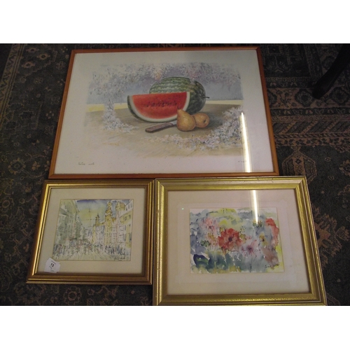 15 - 2 Signed pen and Watercolour signed Harold Wilby + 1 Large watercolour signed F Neeri.....