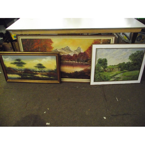 22 - 2 oil on canvas one on board largest 4 x 2 ft slight damage....