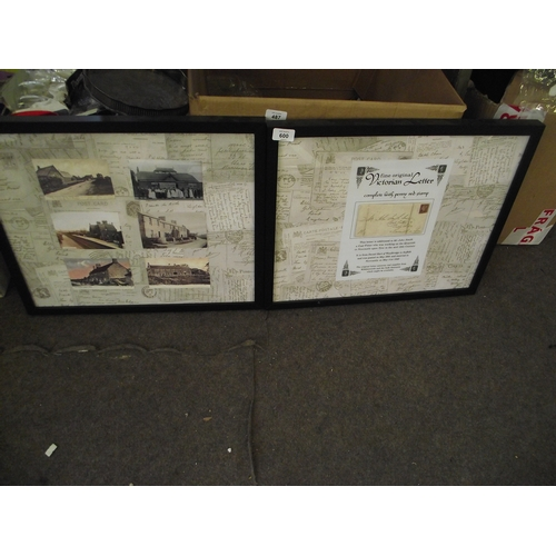 27 - Victorian framed letter and postcard montage...