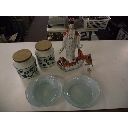 33 - Chinese ceramic  figure+ studio glass+others....