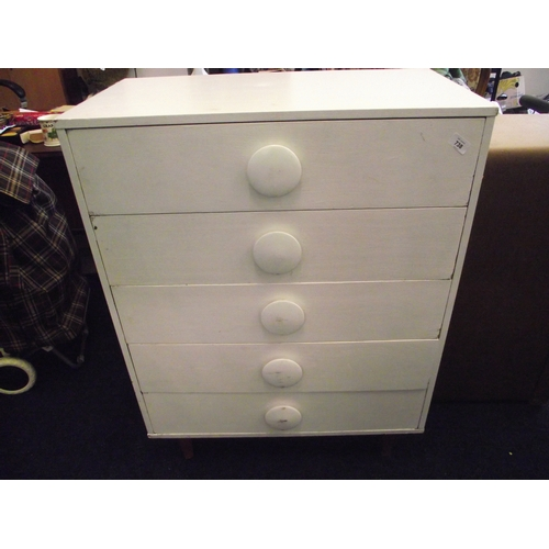 38 - Heavy painted white 5 drawer chest...
