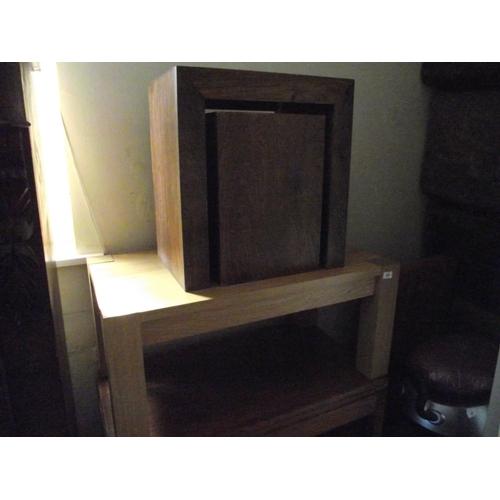 39 - Heavy beech coffee table + dark oak modern block table and matching stool....